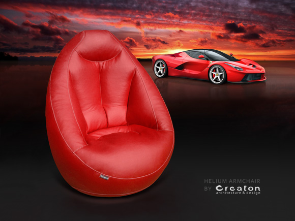 HELIUM ergonomic armchair - Ultra red, by CREATON
