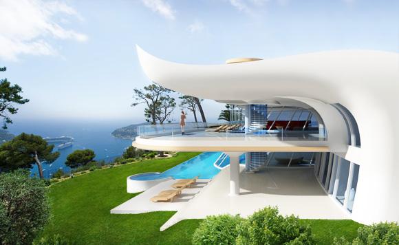 Луксозна къща-резиденция - ВИЛА МАКСУЕЛ. Гледка към морето, просторни тераси, басейн, пет спални. Уникален архитектурен образ. Модерен дизайн, съвременна визия.