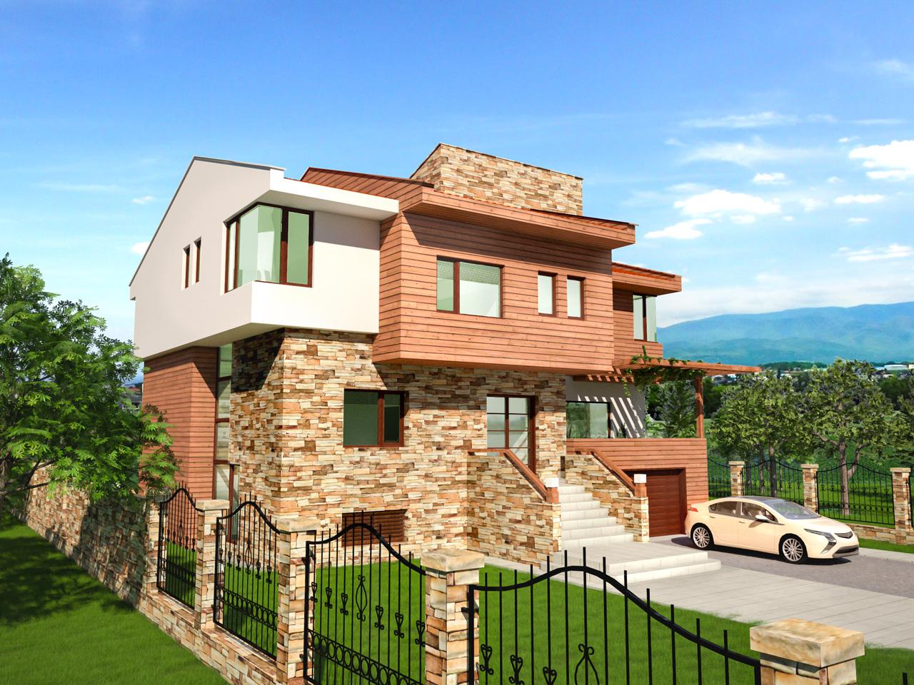 архитектурен проект за еднофамилна къща ТЕРРА в Пловдив