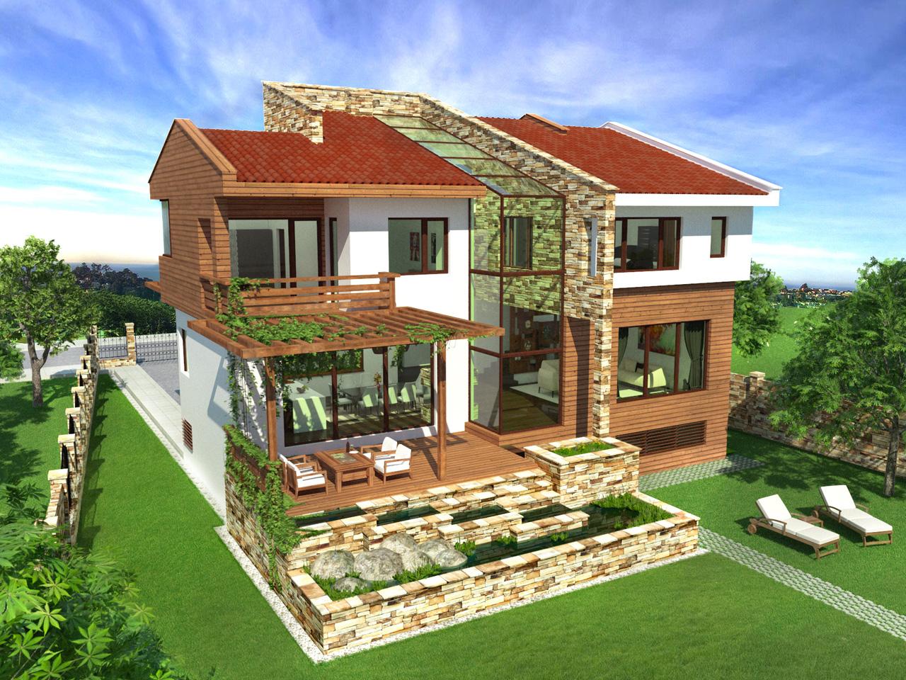 еднофамилна къща ТЕРРА - веранда, вътрешен двор