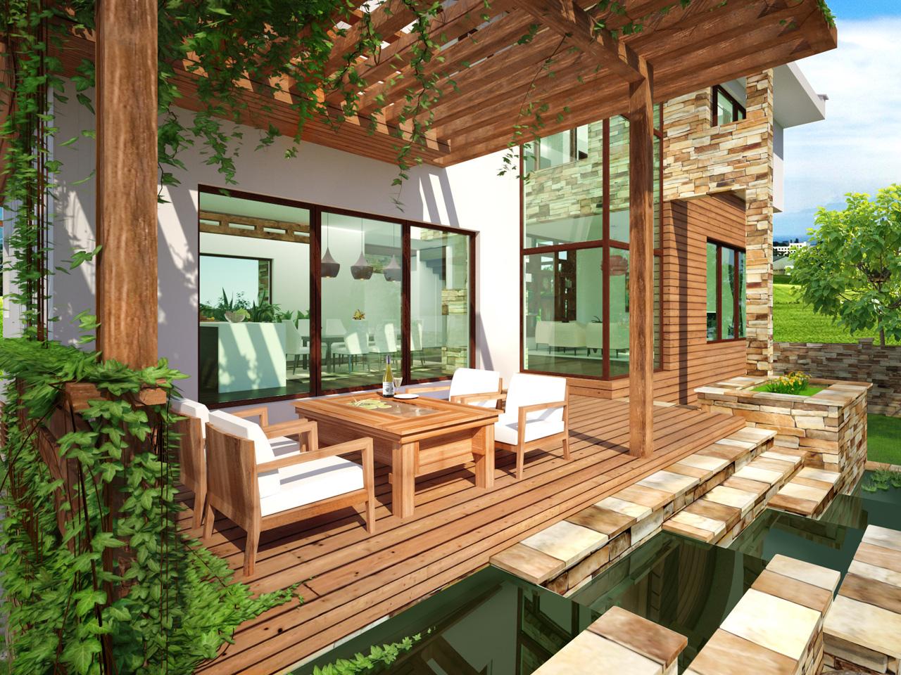 еднофамилна къща ТЕРРА - кът за почивка на открито